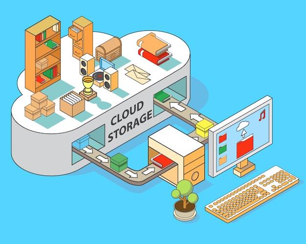 Ilustração isométrica lisa do conceito 3d do vetor do armazenamento da nuvem.