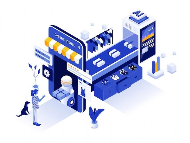Ilustração isométrica moderna - compras on-line