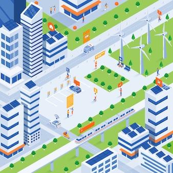 Ilustração isométrica moderna - conceito de cidade inteligente de eco