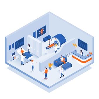 Ilustração isométrica moderna - conceito médico