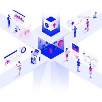 Ilustração isométrica moderna cor plana plataforma de negociação