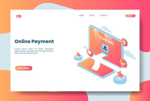 Ilustração isométrica moderna de pagamento online