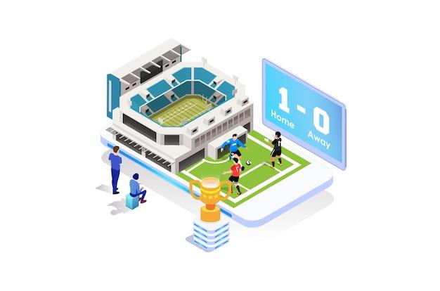 Ilustração isométrica moderna de torneio de futebol ao vivo
