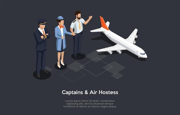 Ilustração isométrica no estilo dos desenhos animados 3d. composição do vetor no fundo escuro. capitães e aeromoça juntos, avião perto, infográficos e escrita. voo e conceito de aeronave.
