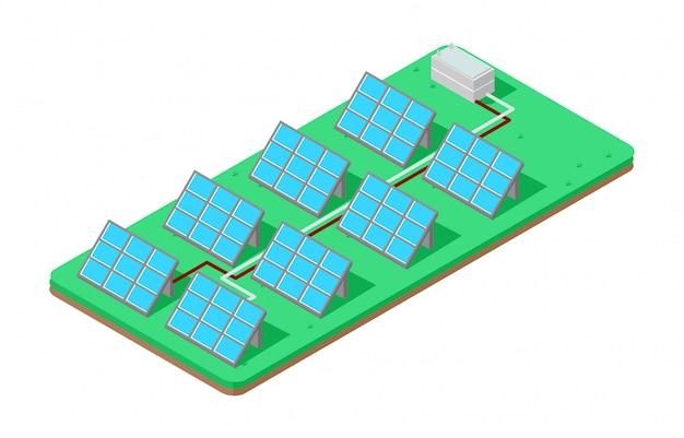 Ilustração isométrica painel solar