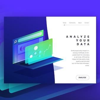 Ilustração isométrica para análise de dados
