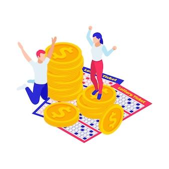 Ilustração isométrica para ganhar na loteria com moedas de bilhetes e pessoas entusiasmadas 3d