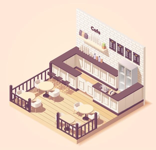 Ilustração isométrica pequeno café ou restaurante bonito com mesas externas