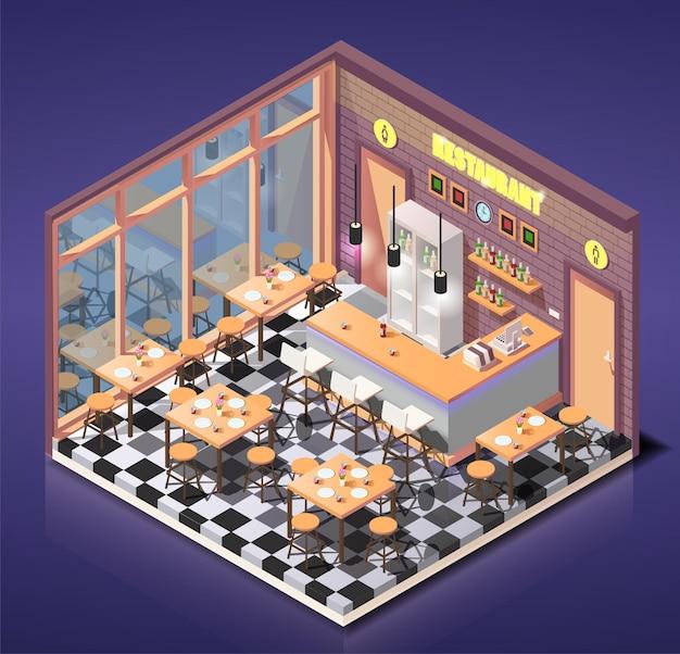 Ilustração isométrica pequeno café ou restaurante bonito