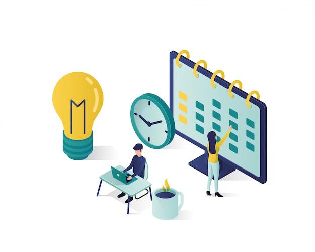 Ilustração isométrica. personagens de pessoas isométricas fazem um cronograma no calendário.