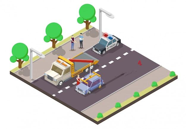 Ilustração isométrica plana de acidente de carro