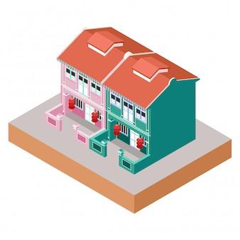Ilustração isométrica representando edifícios coloniais de casas vivas na área da cidade de china
