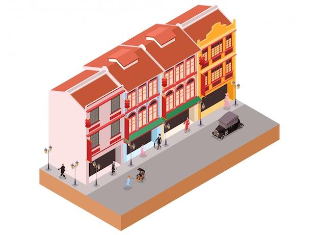 Ilustração isométrica representando velhos edifícios coloniais clássicos como lojas na área da cidade de china