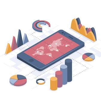 Ilustração isométrica. smartphone com infográficos de negócios.