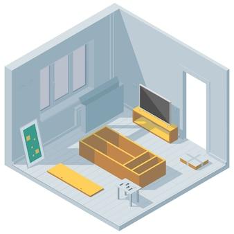 Ilustração isométrica sobre o tema da renovação da sala. montagem de móveis.