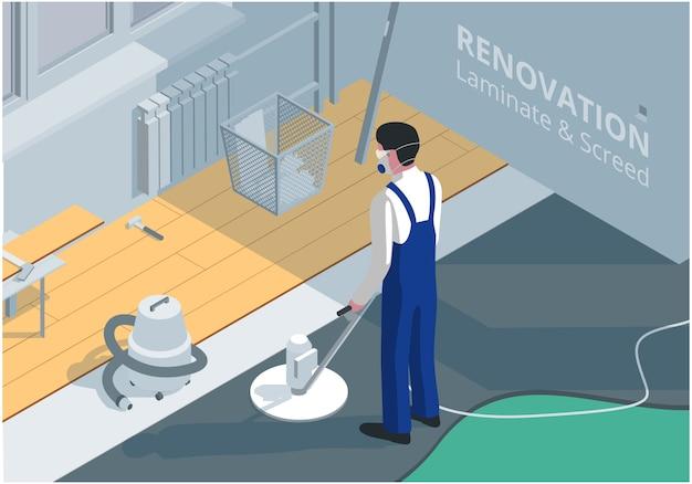 Ilustração isométrica sobre o tema da renovação do quarto. colocação de laminado e betonilha.