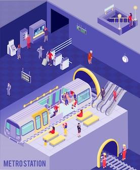 Ilustração isométrica subterrânea