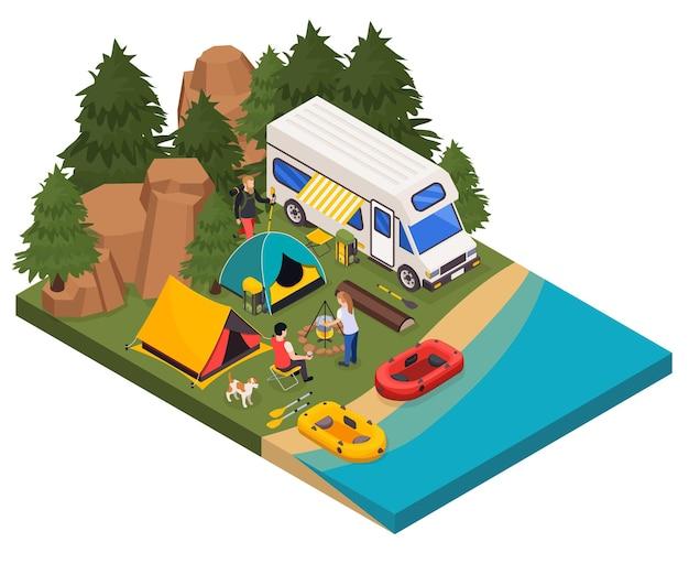 Ilustração isométrica turística de acampamento e caminhada