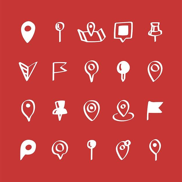 Ilustração, jogo, de, mapa, alfinete, ícones