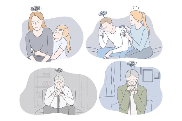Ilustração jovem infeliz