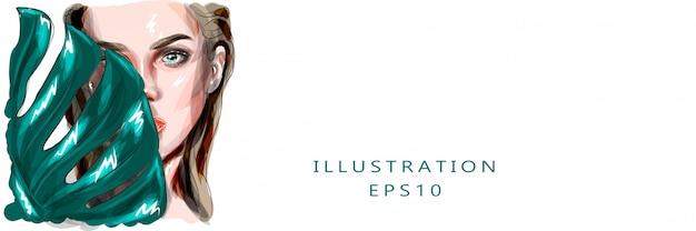 Ilustração. jovem mulher e folha de palmeira. bela ilustração de uma jovem mulher para salão de spa. . adequado para impressão e impressão em tecido.