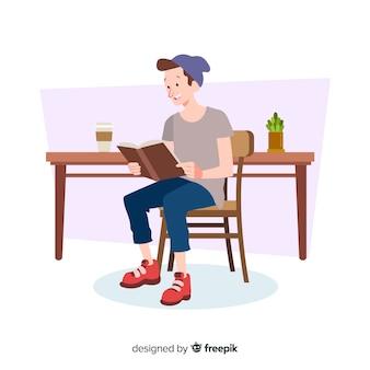 Ilustração, jovem, pessoas, leitura