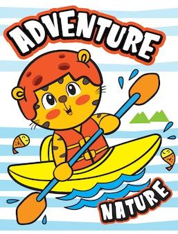 Ilustração kayaking animal bonito para a camisa de t