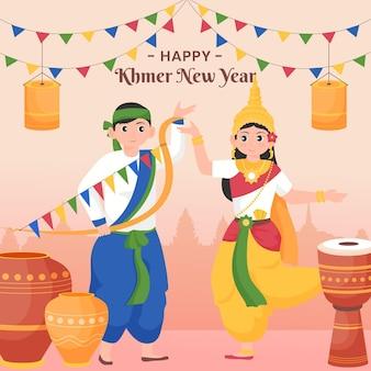 Ilustração khmer plana de ano novo