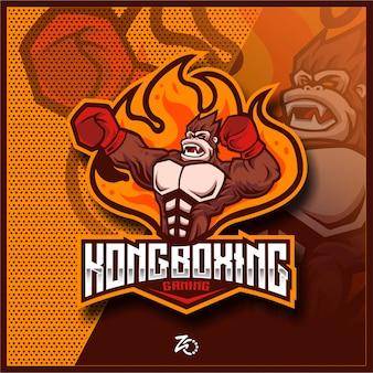 Ilustração kingkong boxing gaming Vetor Premium