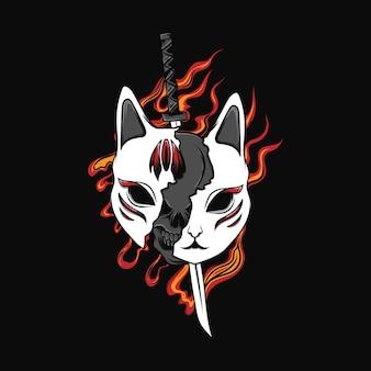 Ilustração kitsune máscara com fogo