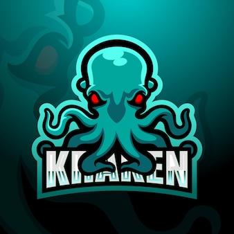 Ilustração kraken mascote esport