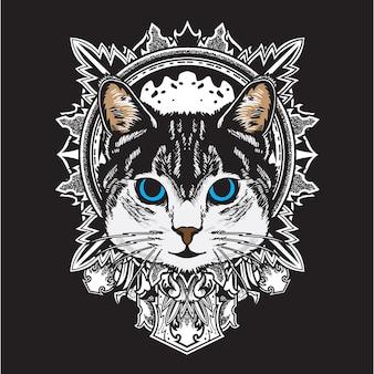 Ilustração legal da mandala da flor do gato preto branco