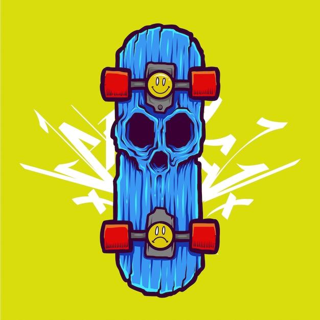 Ilustração legal do crânio do zumbi e design da camiseta