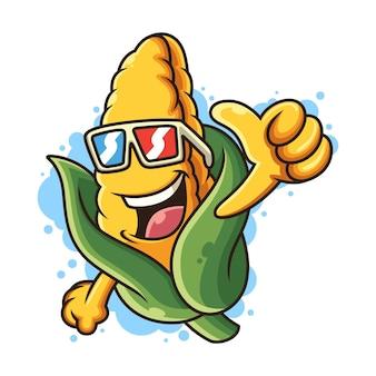 Ilustração legal do ícone do milho. conceito de ícone de comida com pose legal. isolado no fundo branco