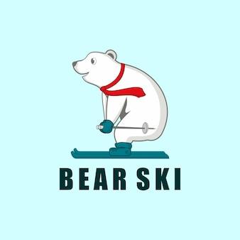 Ilustração legal urso animal animais selvagens fazendo esqui esporte modelo de design de logotipo desenho animado