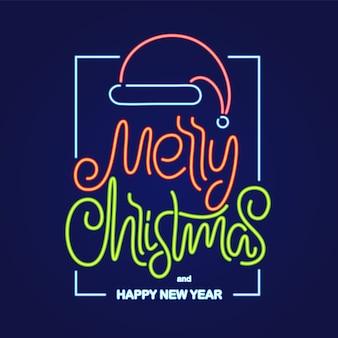 Ilustração: letras tipo néon de feliz natal e feliz ano novo com chapéu de papai noel na moldura
