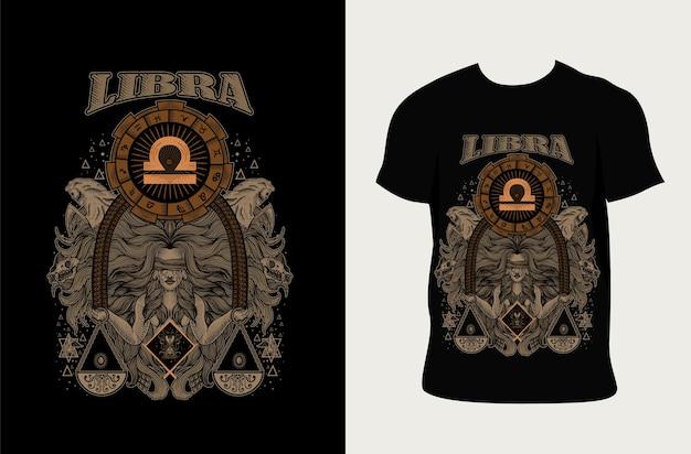 Ilustração libra zodíaco com design de camiseta