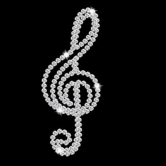 Ilustração linda abstrata diamond music note preto