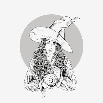 Ilustração linda bruxa