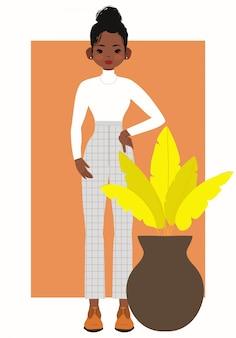 Ilustração linda e legal garota negra