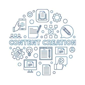 Ilustração linear circular de criação de conteúdo
