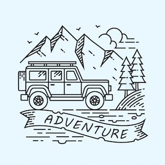 Ilustração linear de aventura de jipe