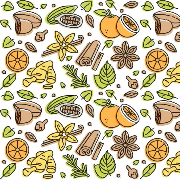 Ilustração linear de especiarias e ingredientes de vinho quente. diferentes especiarias - pau de canela, cravo e fatia de frutas cítricas. padronizar.