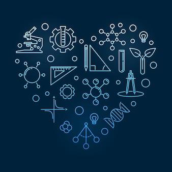 Ilustração linear de tronco de coração azul