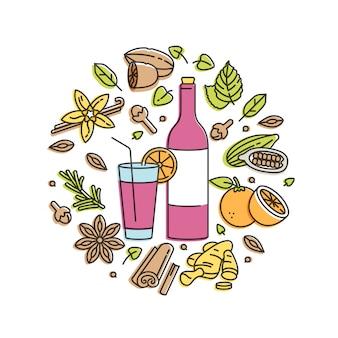 Ilustração linear de vinho quente com vidro e ingredientes. diferentes especiarias - pau de canela, cravo e fatia de frutas cítricas. isolado no fundo branco.