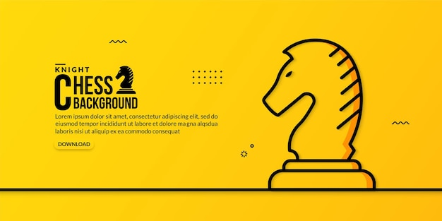 Ilustração linear do cavaleiro xadrez em amarelo