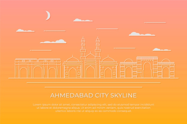Ilustração linear do horizonte de ahmedabad