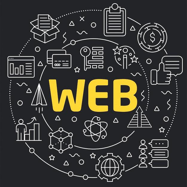 Ilustração linear para apresentações na web redonda