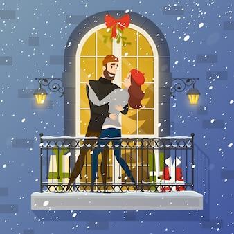 Ilustração lisa da cena romântica do balcão pôster