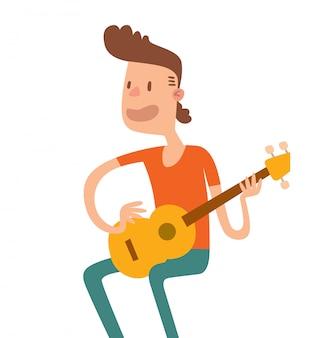 Ilustração lisa do assento e do jogo do menino da guitarra acústica.